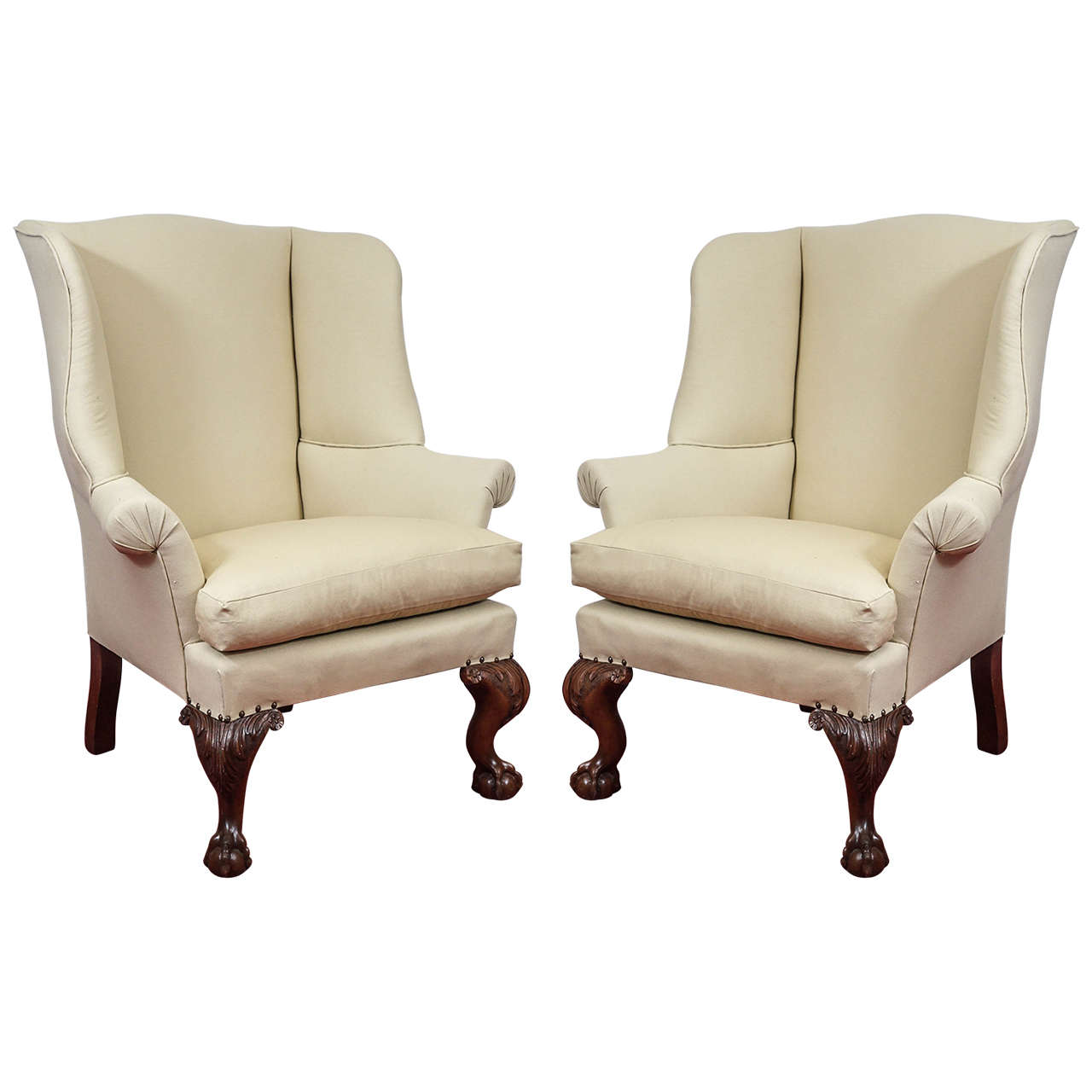Pair of George II Wingback Chairs For Sale
