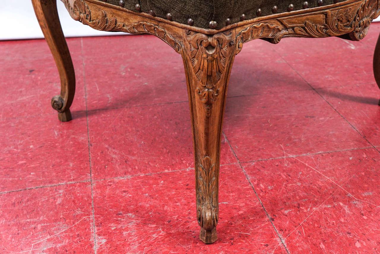 Velvet Louis XV Style Armchair For Sale