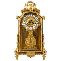 Gorgeous Gilded Bronze Mantel Clock, Signed Barbedienne