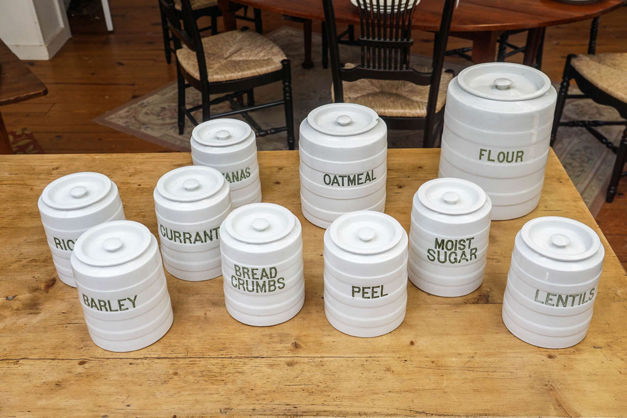 Ten-Piece English Canister Set In Excellent Condition In Sheffield, MA
