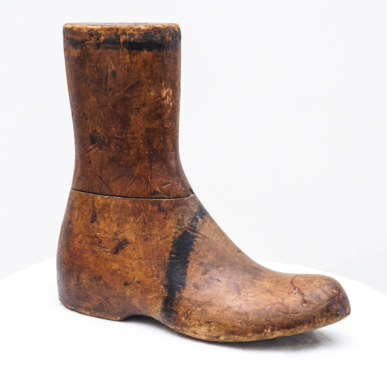 this wooden boot has very nice age to it.