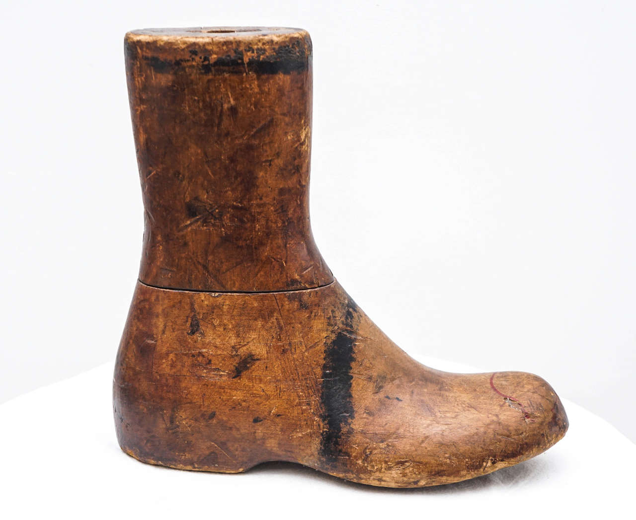 American Colonial Old Wooden Foot or Boot Form For Sale