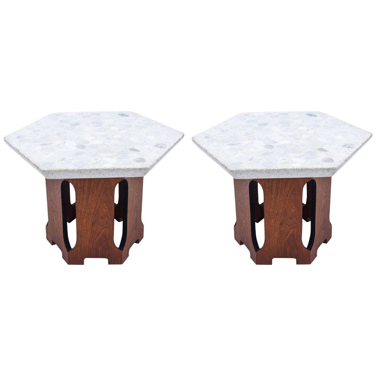 Pair of Harvey Probber Hexagon Composite Tables