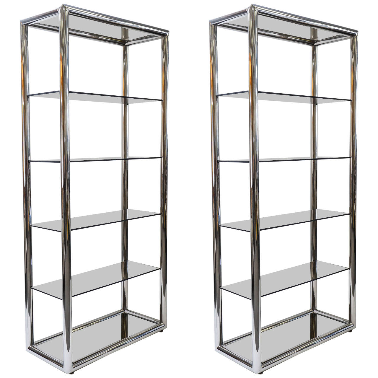 Pair of Pace Collection Polished Aluminum and Smoked Glass Shelves