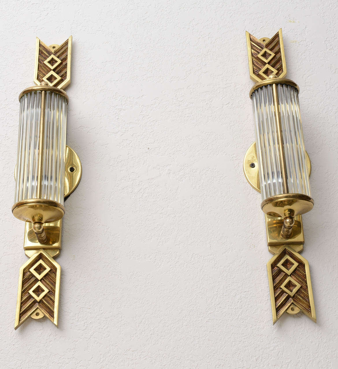 Glass Rod Wall Sconces : Cast Brass Wall Sconces with Glass Rods at 1stdibs