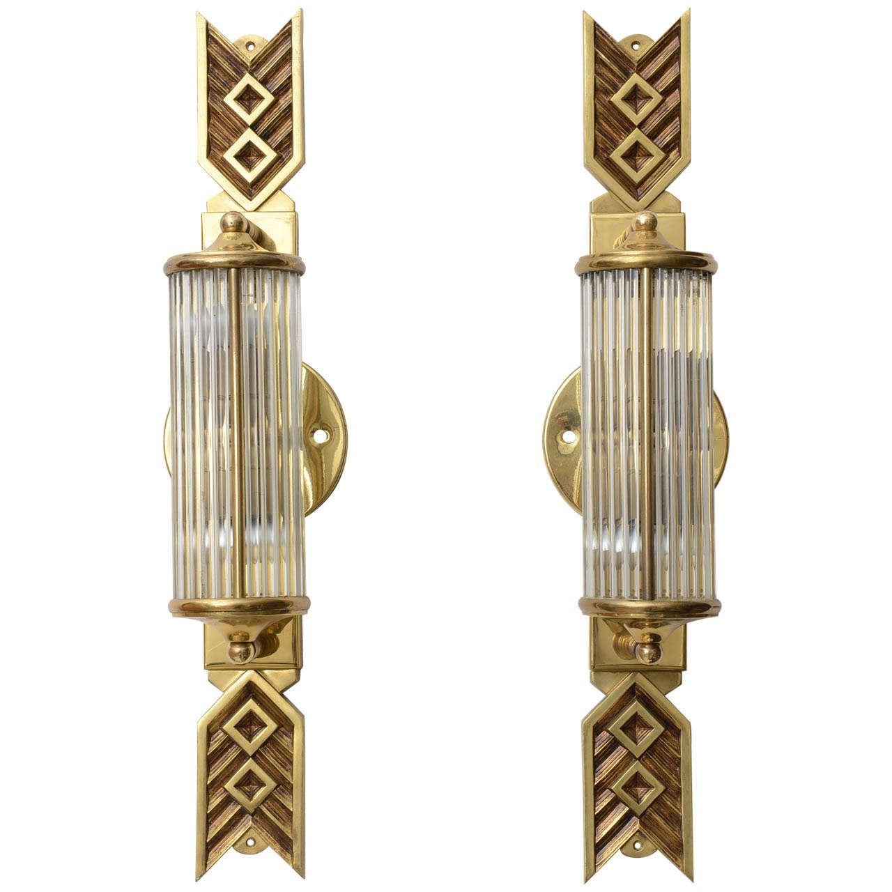 Cast Brass Wall Sconces with Glass Rods at 1stdibs