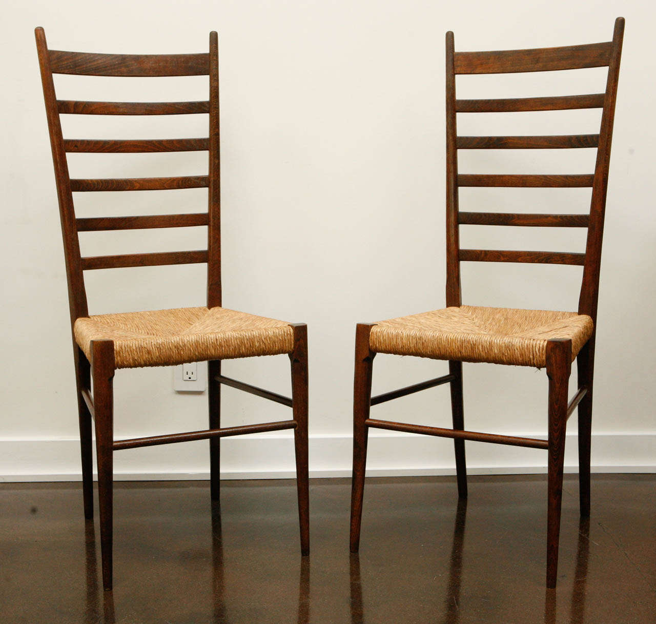 Pair Of Italian Ladder Back Chairs With Woven Seats 2