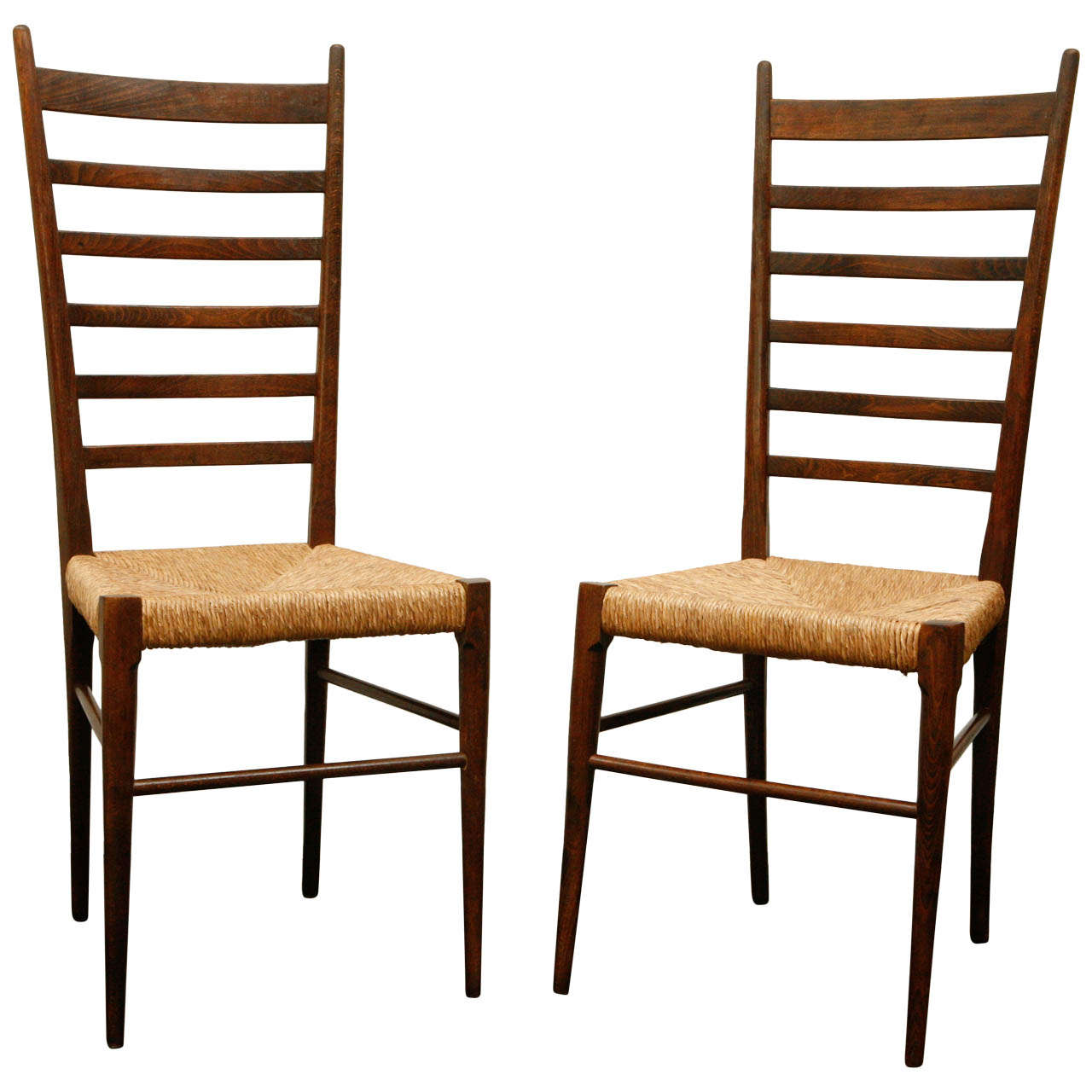 Pair Of Italian Ladder Back Chairs With Woven Seats At 1stdibs