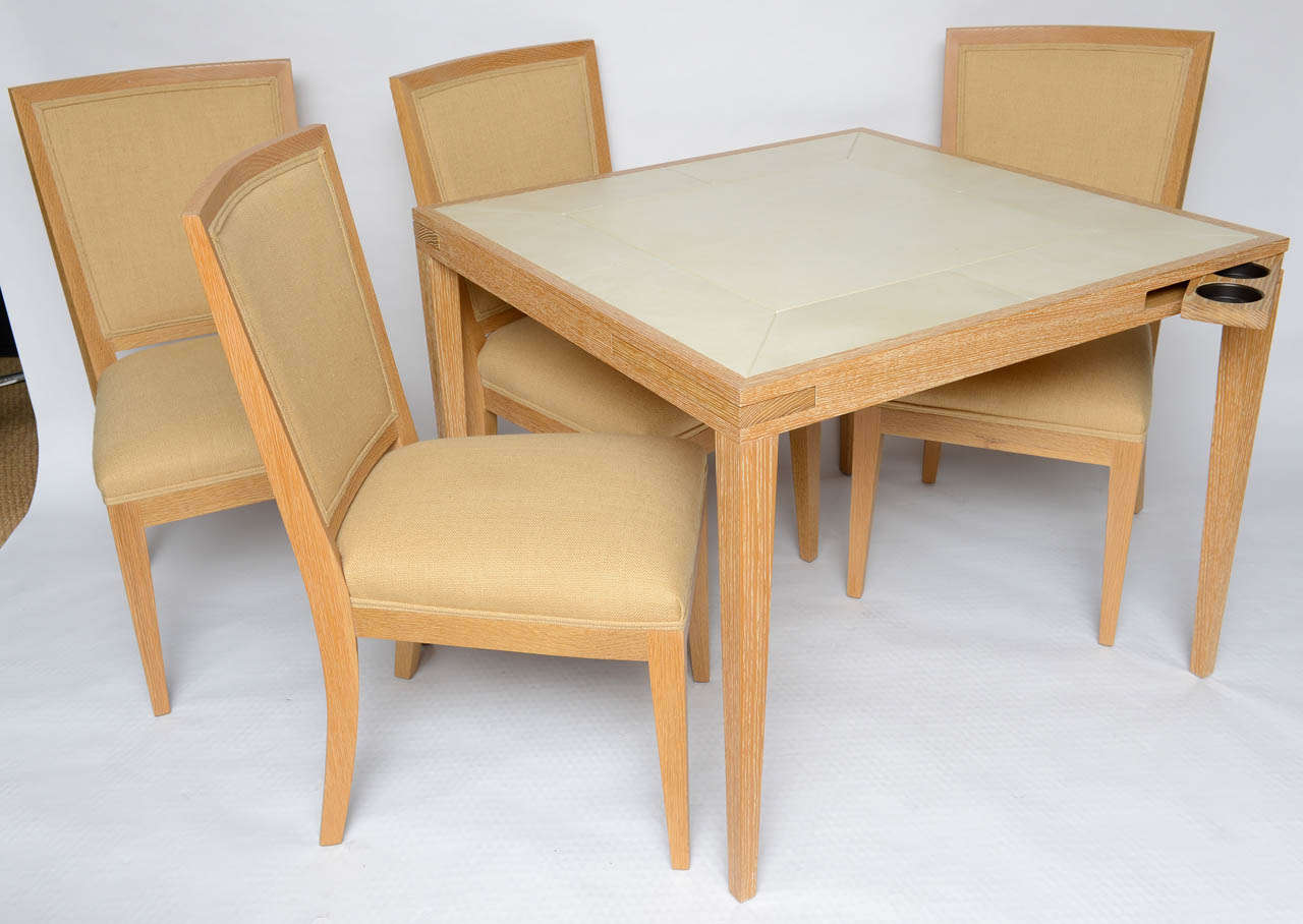 Originally Sold Through Holly Hunt, This Lined Oak And Paper Parchment Top Game  Table Has