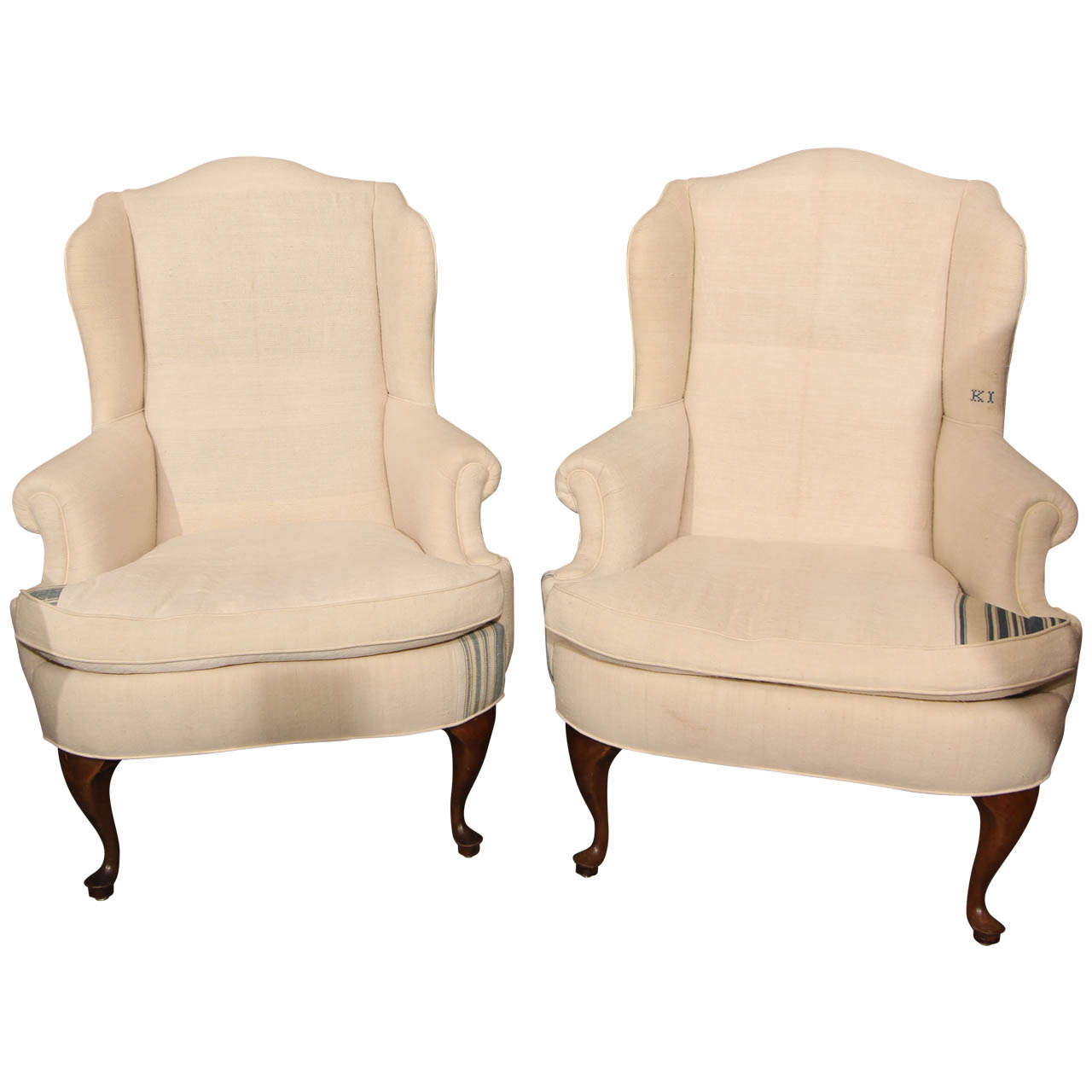 Pair Linen Rolled Arm Chairs For Sale at 1stdibs