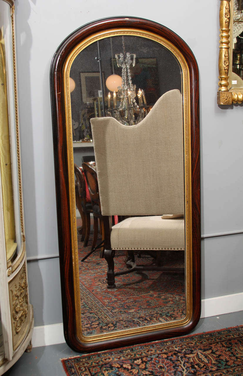 Large grain painted frame mirror at 1stdibs for Full length mirror with mirror frame