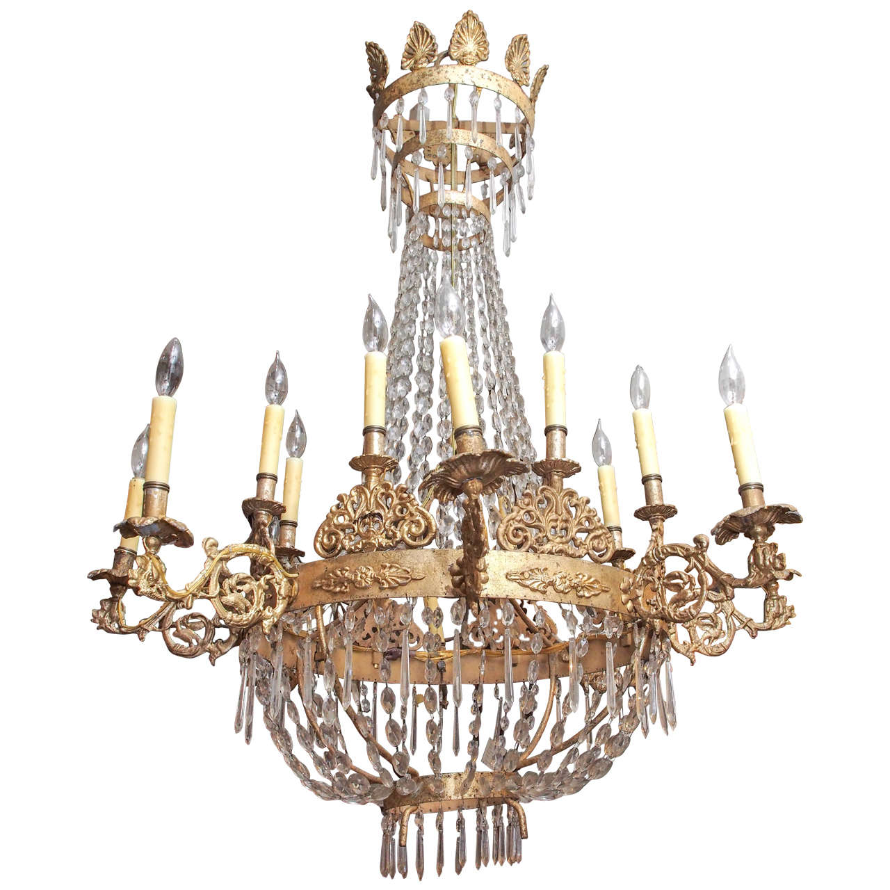 Italian Gilt Iron And Crystal Empire Style Chandelier For