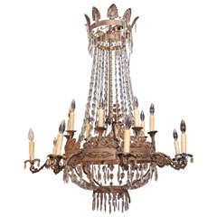 Italian Painted  Metal Two Tiered Empire Style Chandelier