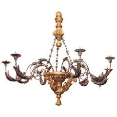 Monumental Tuscan Giltwood and Patinated Iron Hanging Fixture