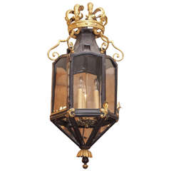 Italian Iron Lantern with Crown