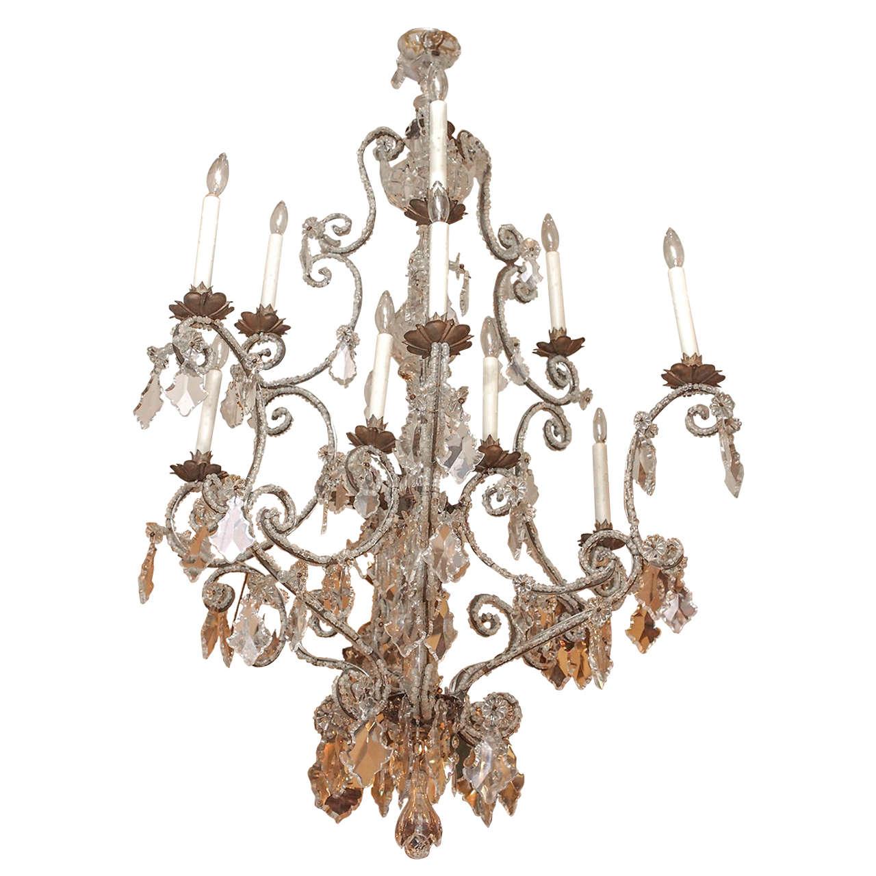 Venetian 18th Century Beaded Iron Twelve-Light Chandelier