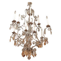 Venetian 18th Century Beaded Iron Twelve-Light Chandelier