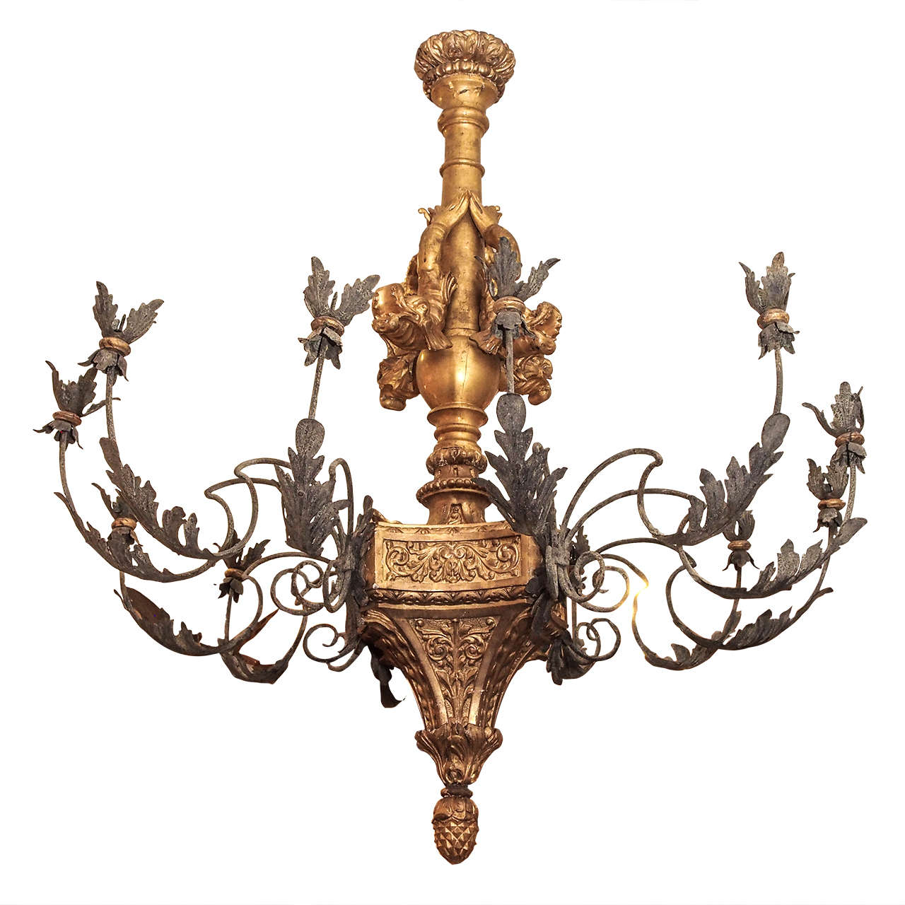 Monumental Italian Giltwood and Iron Chandelier