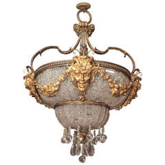 Gilt Bronze and Crystal Beaux Arts Light Fixture