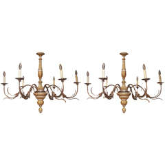 Pair of 19th Century Tuscan Parcel-Gilt and Paint with Iron Chandeliers