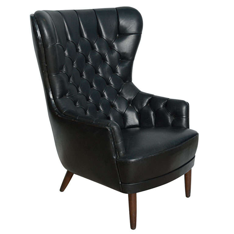 Danish Mid Century Leather Wing Back Chair At 1stdibs