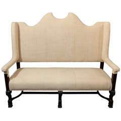 high back settee in french linen