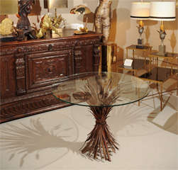 Elegant Glass Top Table with Wheat Sheaf -Motif image 2