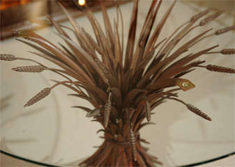 Elegant Glass Top Table with Wheat Sheaf -Motif image 4