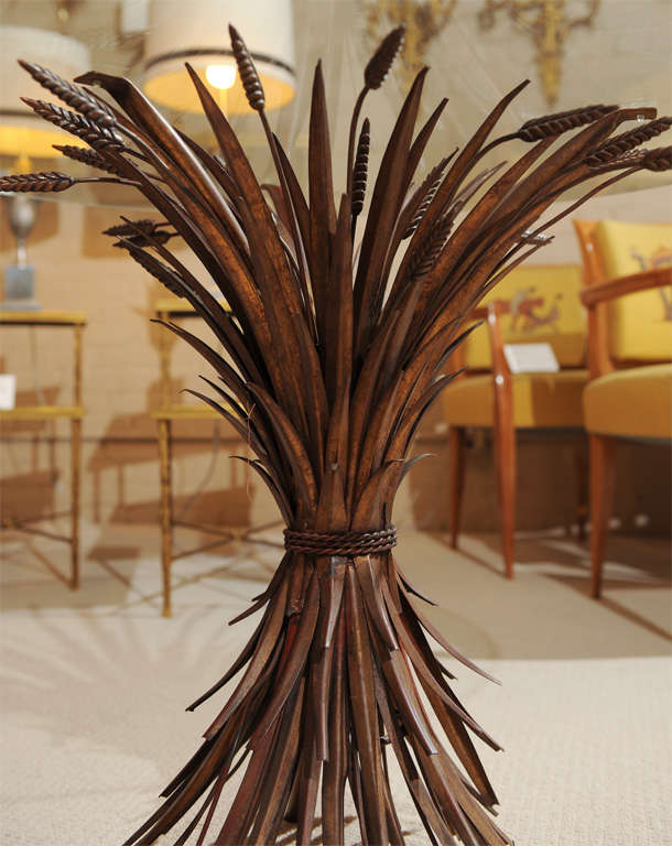 Elegant Glass Top Table with Wheat Sheaf -Motif 5