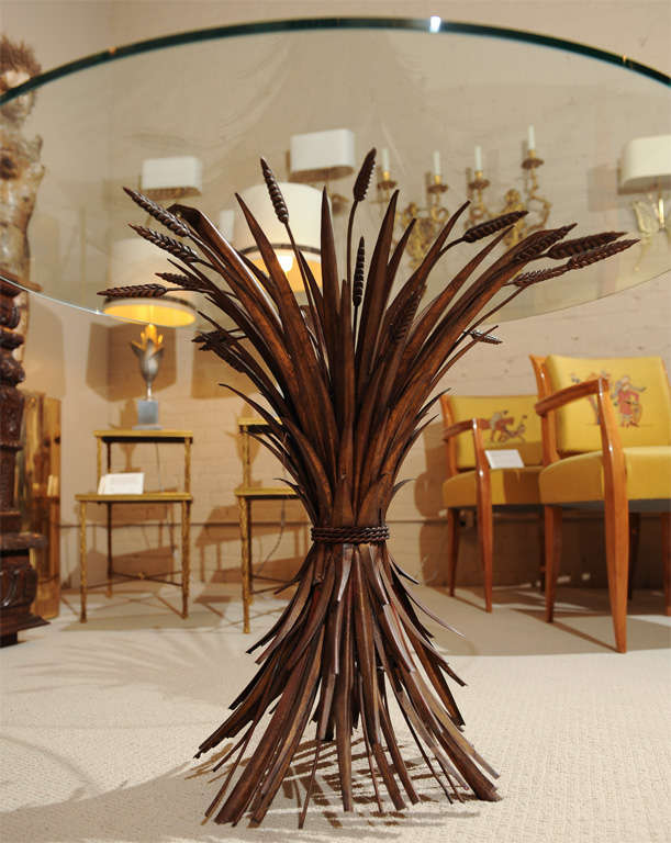 Elegant Glass Top Table with Wheat Sheaf -Motif 6