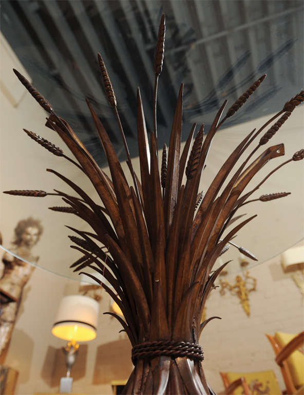 Elegant Glass Top Table with Wheat Sheaf -Motif 7
