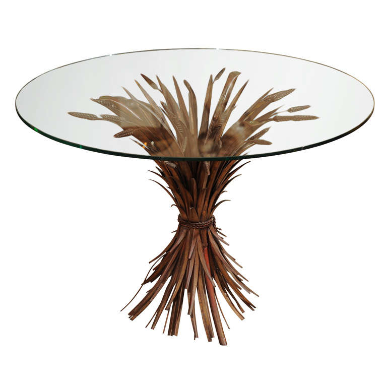 Elegant Glass Top Table with Wheat Sheaf -Motif 1