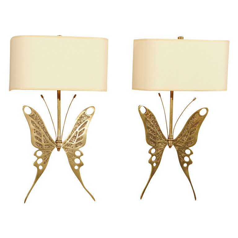 Unique Pair Of Butterfly Motif Sconces At 1stdibs