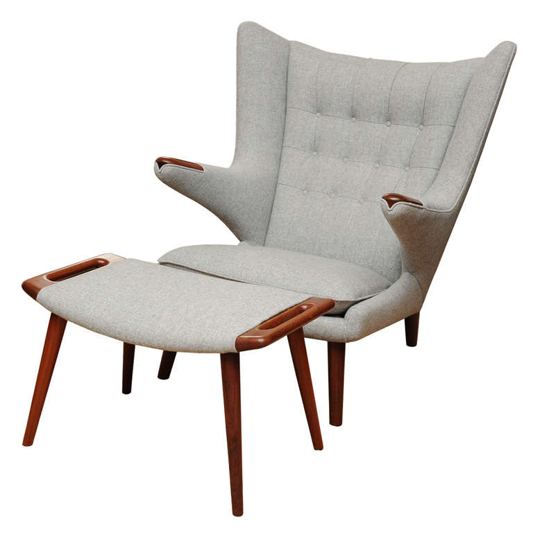 Awesome Hans Wegner Papa Bear Chair And Ottoman At 1Stdibs Ibusinesslaw Wood Chair Design Ideas Ibusinesslaworg