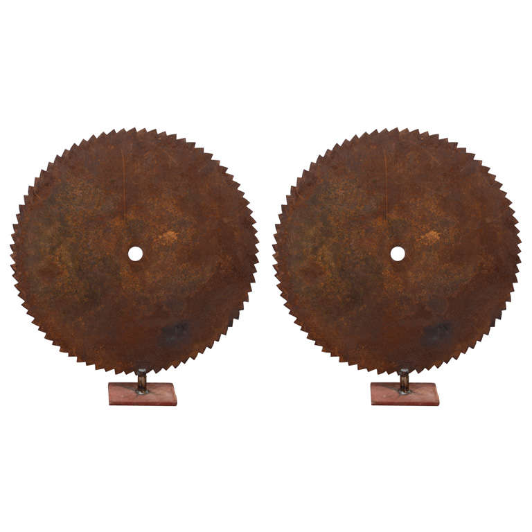 """A Pair of Industrial Vintage """"Saw-Blade"""" Sculptures For Sale"""