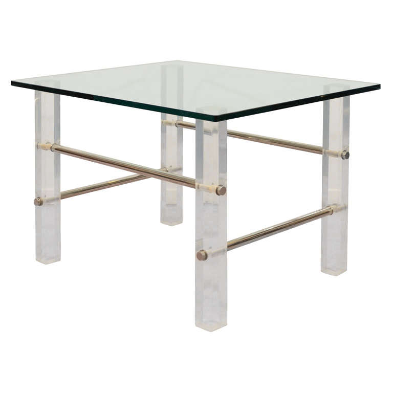 Mid Century Glass Top Side Table With Lucite And Chrome
