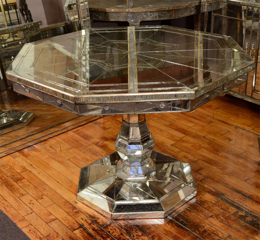 Vintage Mirrored Octagonal Dining Table With Pedestal Base