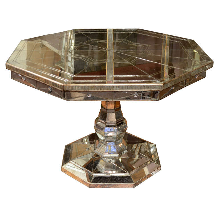 Vintage Mirrored Octagonal Dining Table With Pedestal Base For