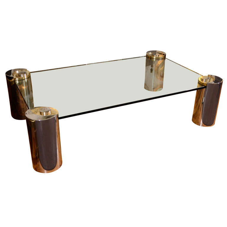 Mid Century Karl Springer Brass And Polished Nickel Coffee Table At 1stdibs
