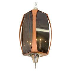 Mid Century Walnut and Smoked Acrylic Lantern