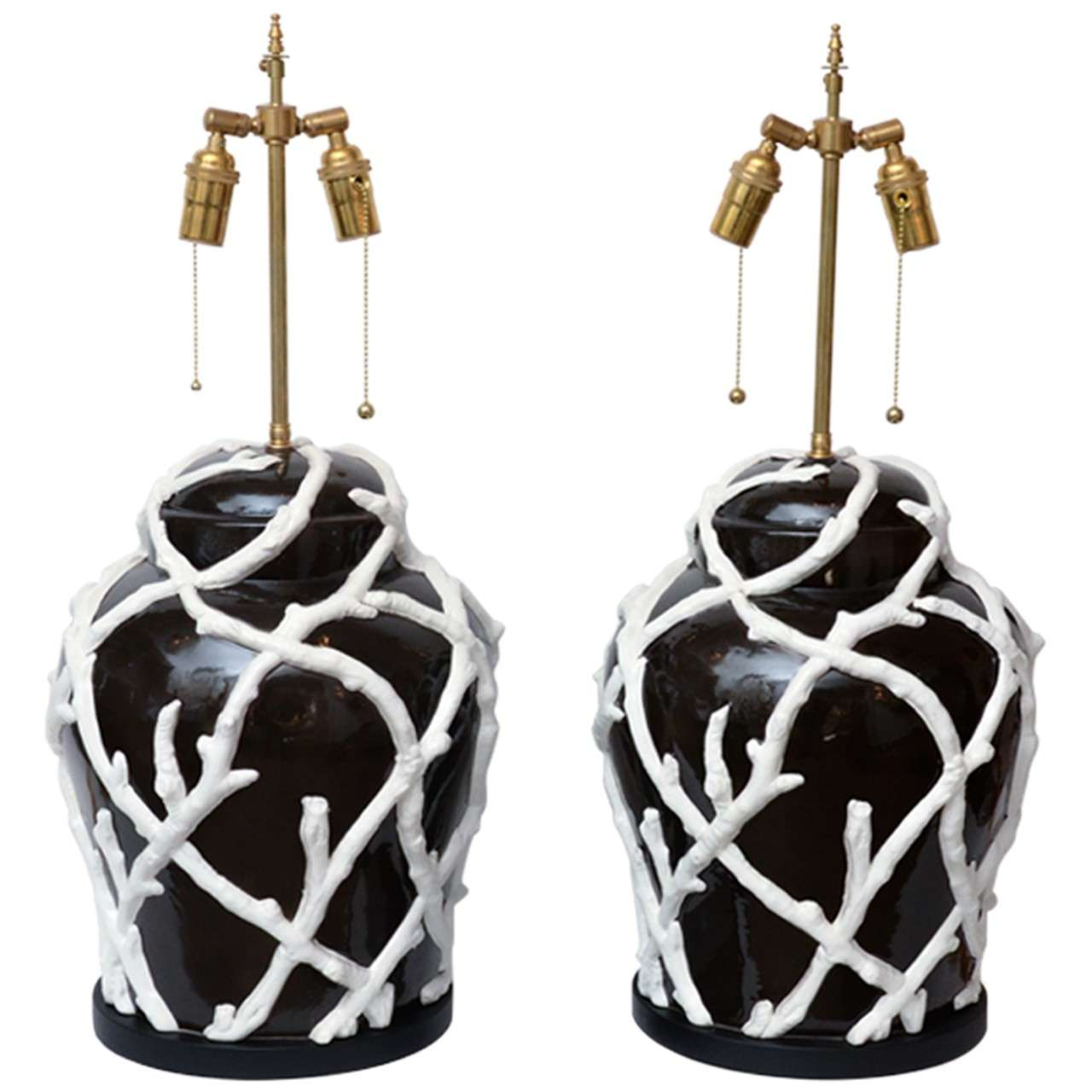 Pair of Brown Ceramic Ginger Jar Form Lamps with White Applied Vine Design