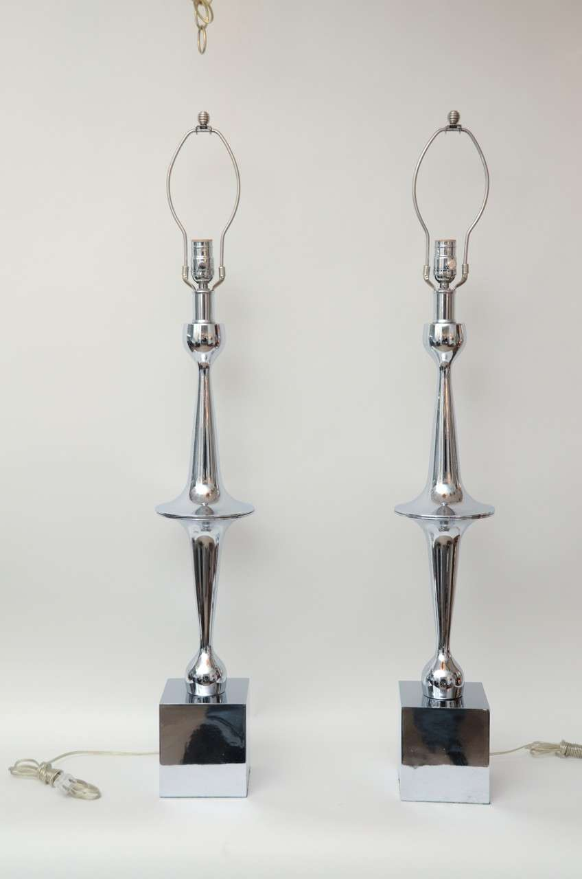 Pair Of Tall Slender Modern Form Chrome TableLamps For