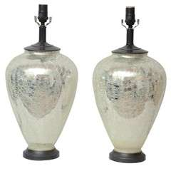 Pair Mercury Glass Lamps