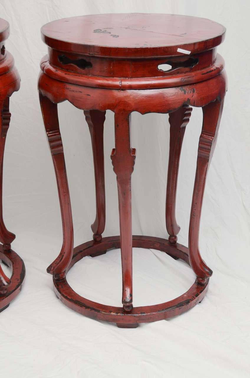 Late 19thC. Q'ing Dynasty Red Lacquered Shanghai Palace Jar Pedestal  3