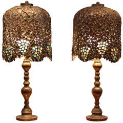 Pair of Vineyard-Motif Table Lamps