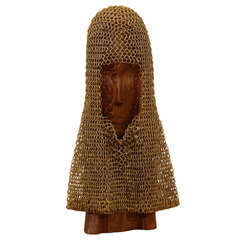 Brass Chain-Mail Head Dress on Carved Stand