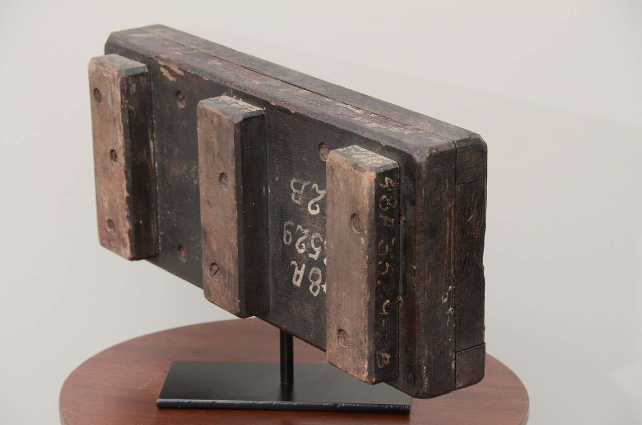 Wooden Industrial Mold On Contemporary Stand At 1stdibs