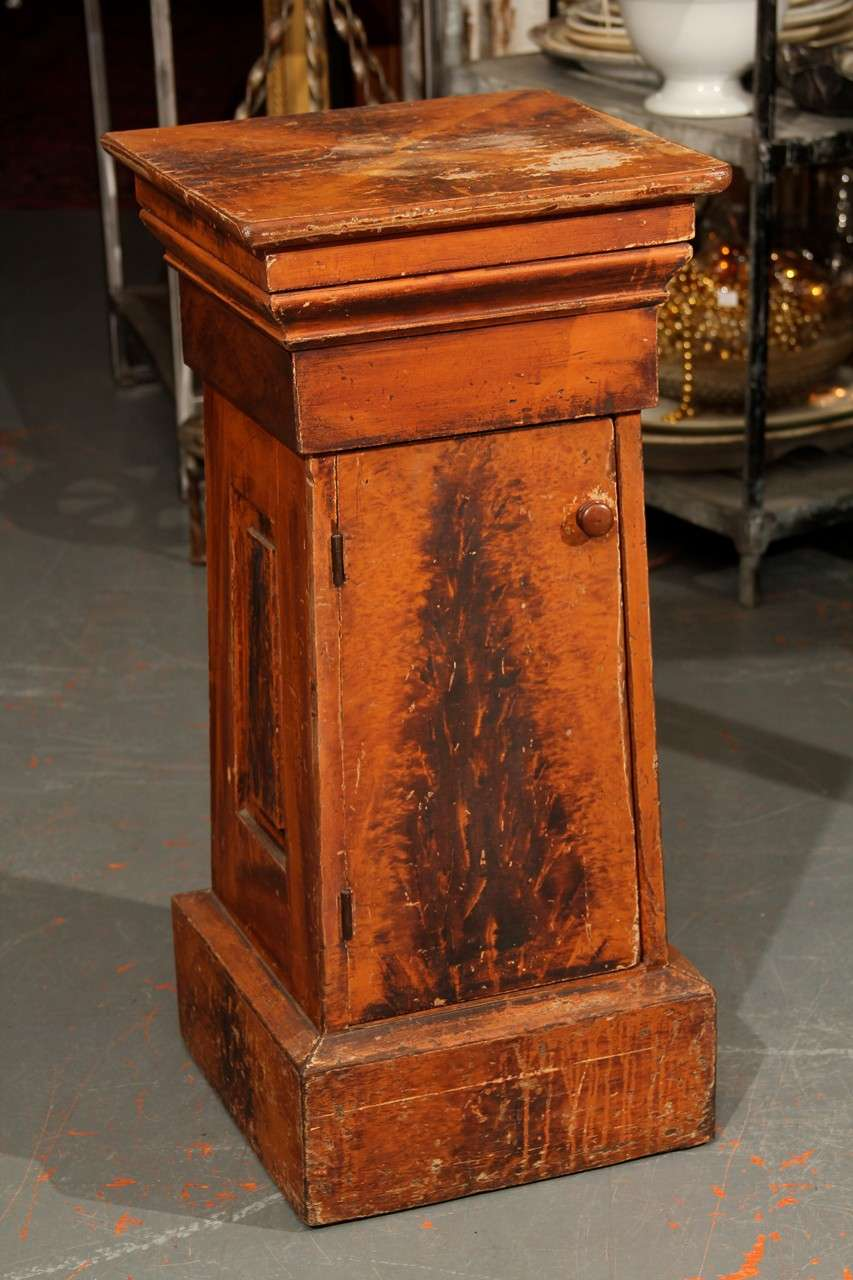 Faux painted side table or stand with generous shelf behind door. great detail all the way around.
