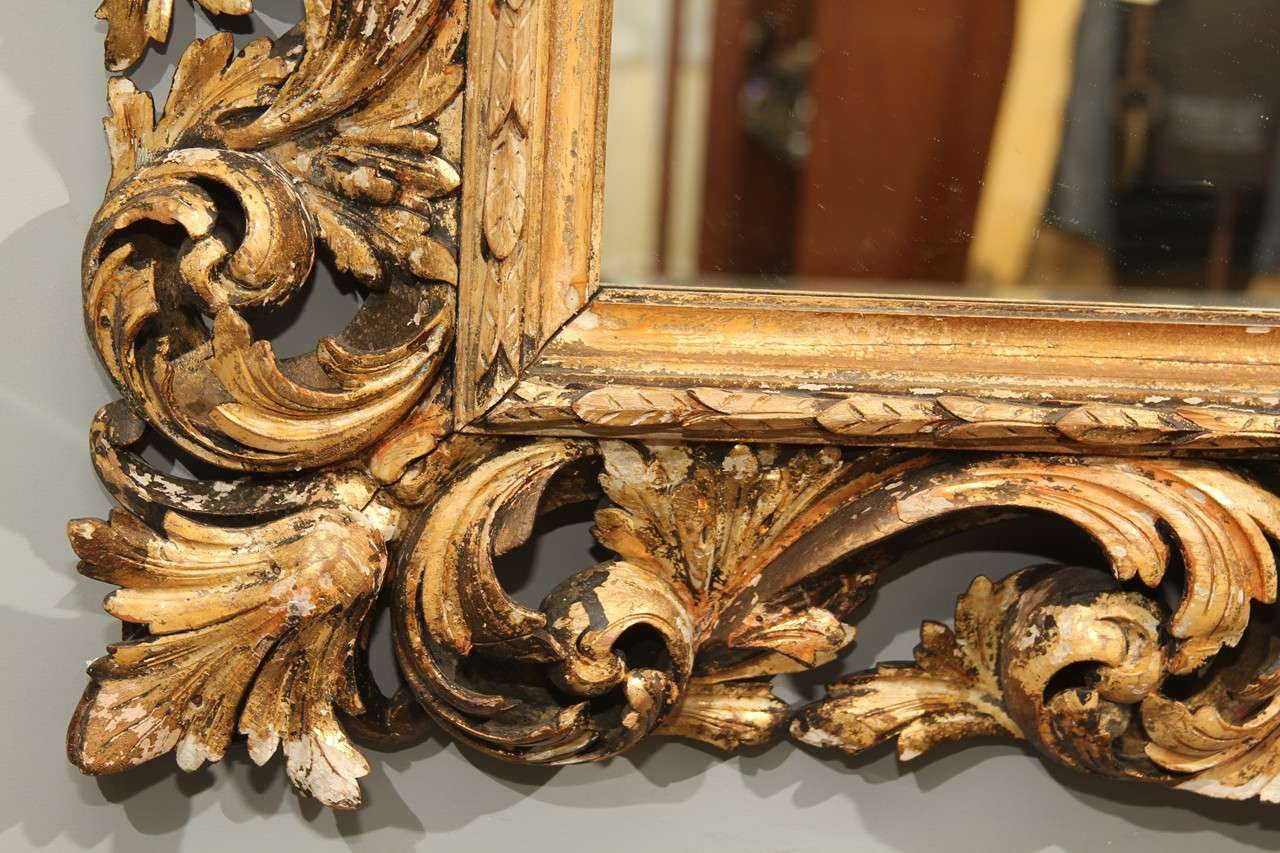 Hand Carved Wood Frame Mirror At 1stdibs