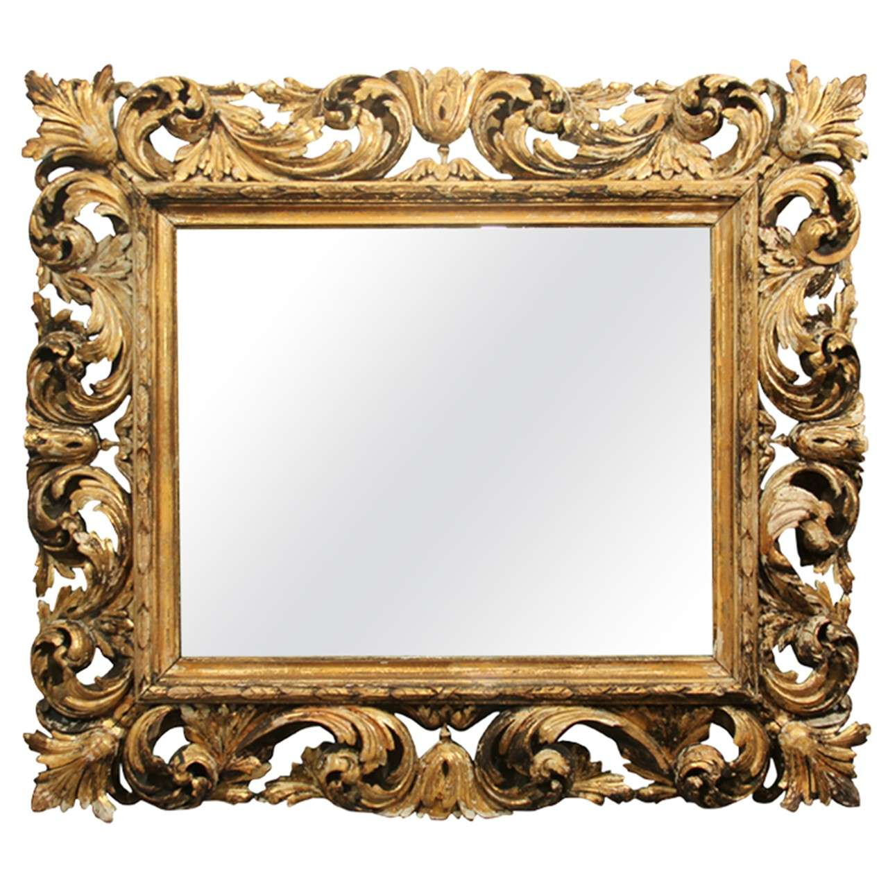 Hand carved wood frame mirror at 1stdibs for Mirror frame